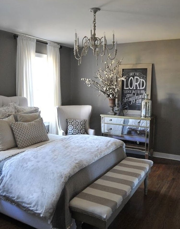 Beautiful Light Grey Bedroom Ideas with White Accents