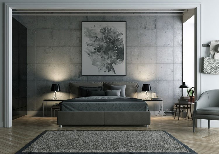 Bold Grey Bedroom Design Inspiration