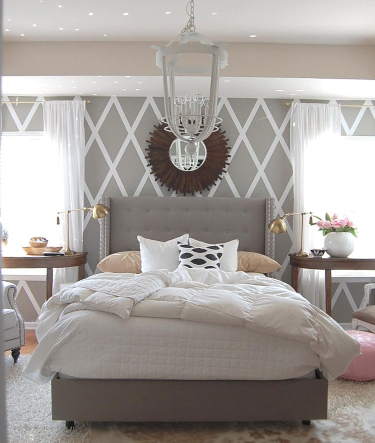 Bright Bedroom with Light Grey Patterned Walls