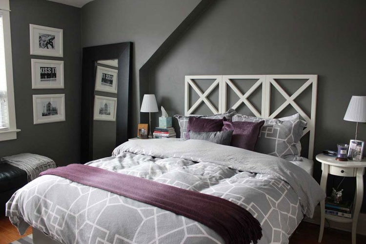 Cozy Dark and Light Grey Bedroom with Purple Accents