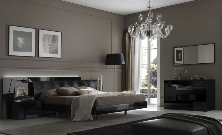 Dark Grey Room with Black Furniture