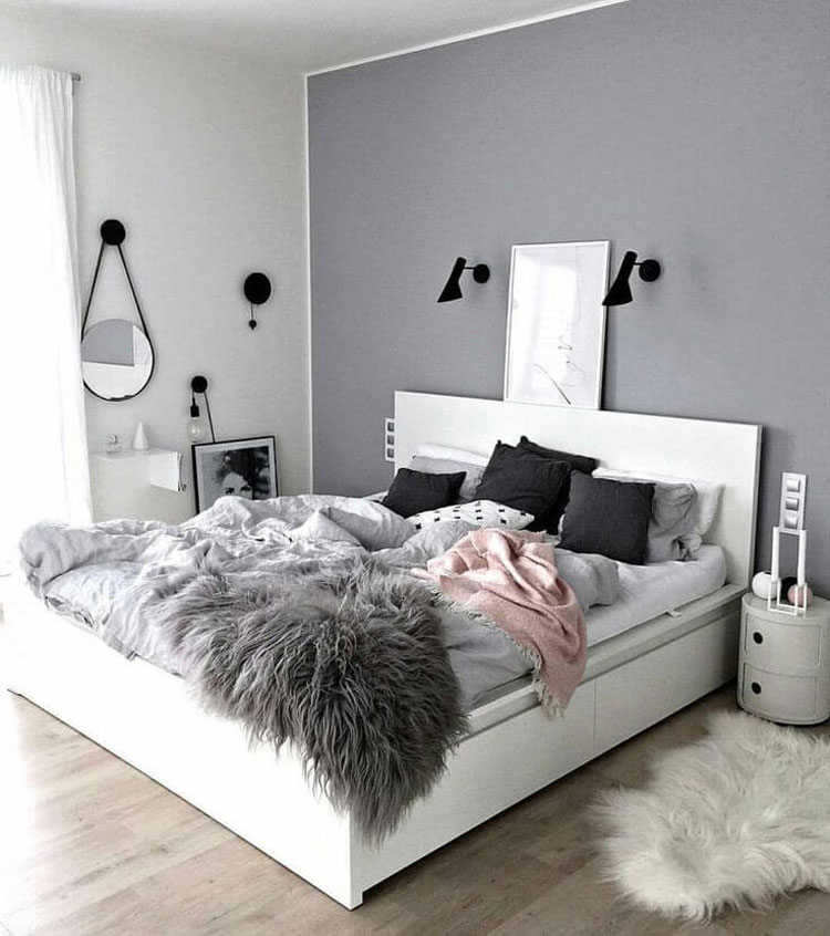Feminine Grey Bedroom with Playful Decor