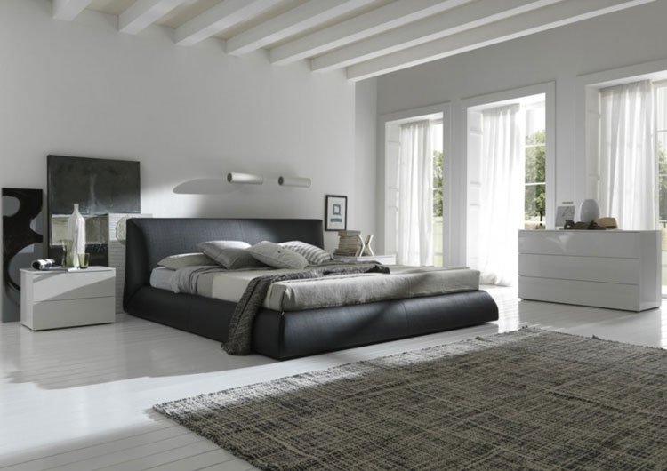 Gorgeous White, Light and Dark Grey Master Bedroom