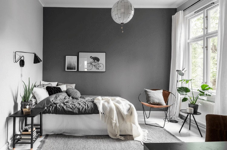 Grey Bedroom Ideas - Minimalist Grey Bedroom Design with Dark Grey Wall