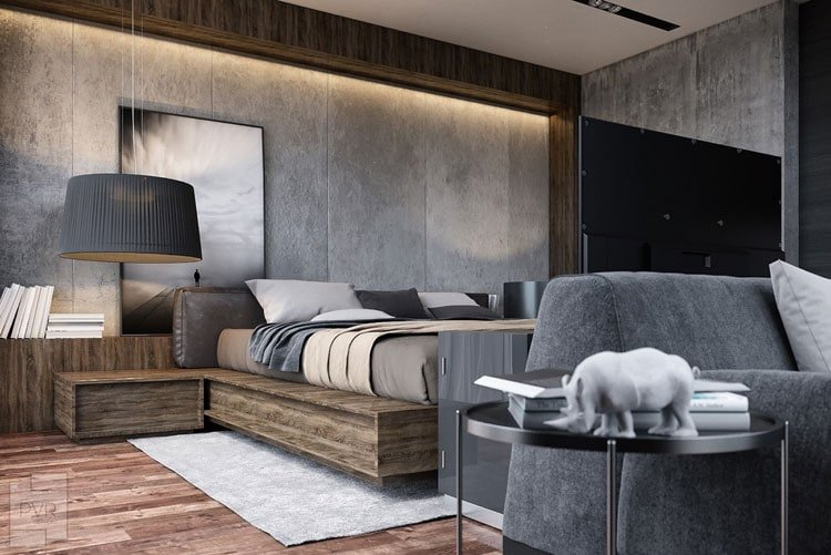 Grey Bedroom - Masculine Bedroom Shines with Natural Grey Concrete Walls