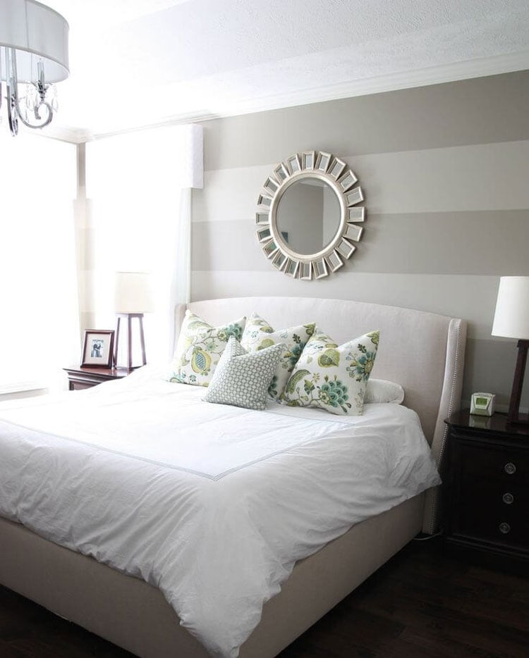 Grey Bedroom with Clean Lines and Floral Elements