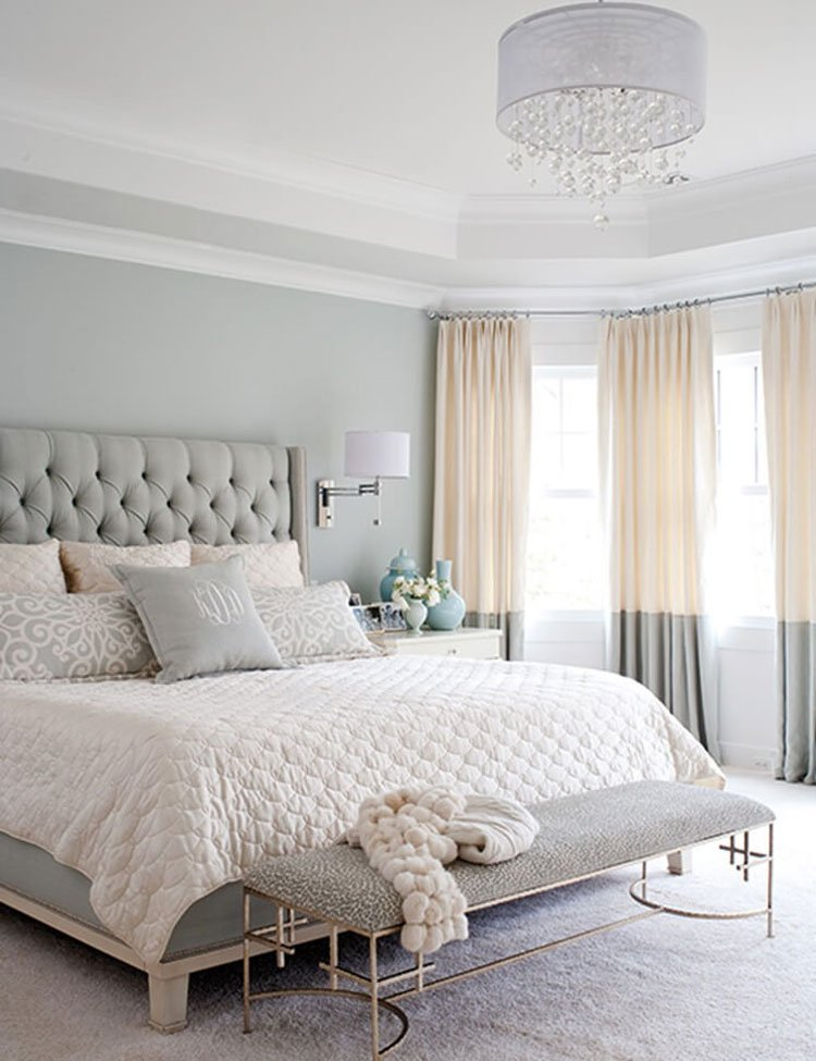 Inviting White and Grey Bedroom with Peach Highlights
