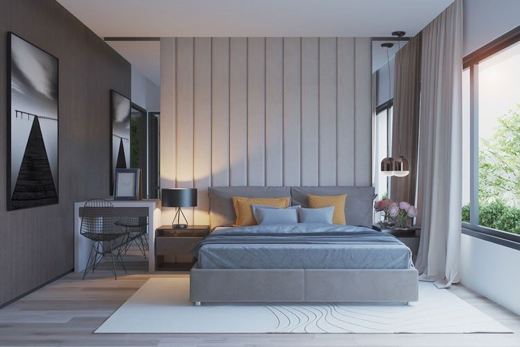 Pale Grey Bedroom with Natural Light and Beautiful Light Tones
