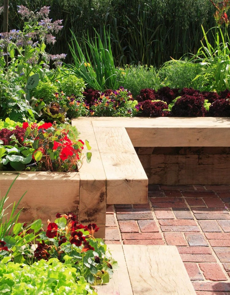 Rustic Garden Edging Design with Bench