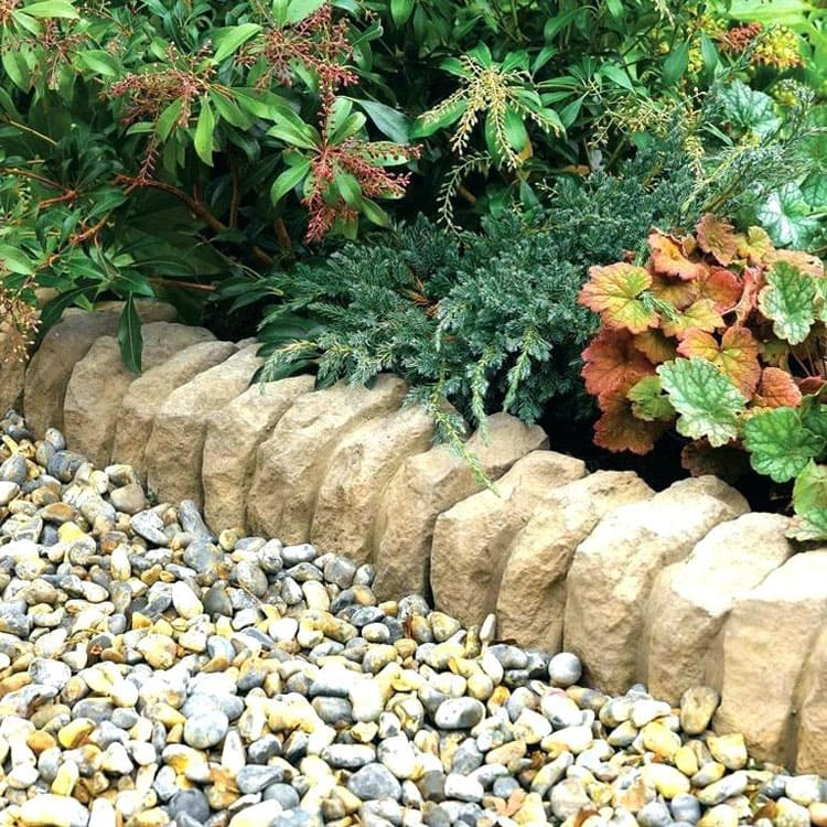 Small Rocks with Stacked Rock Edge For Cool Landscaping