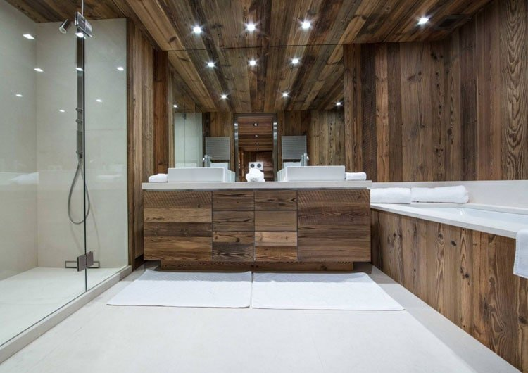 Amazing Bathroom with Clean Lines, Rustic Lighting and Walls
