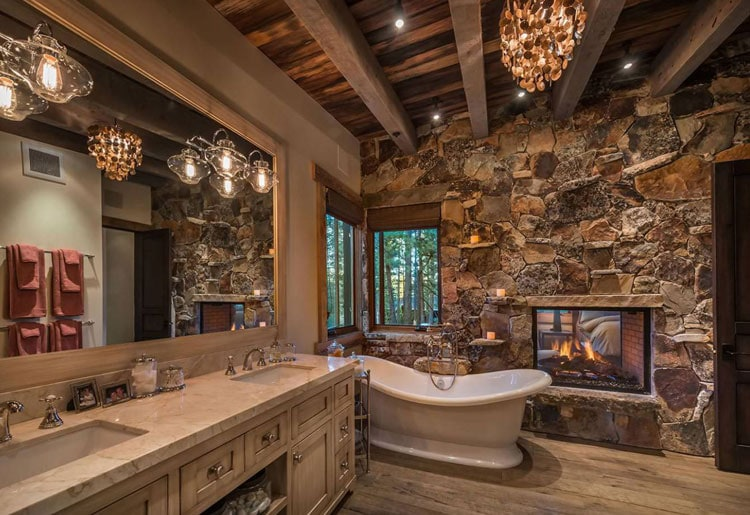 Amazing Cabin Bathroom with Rustic Decor