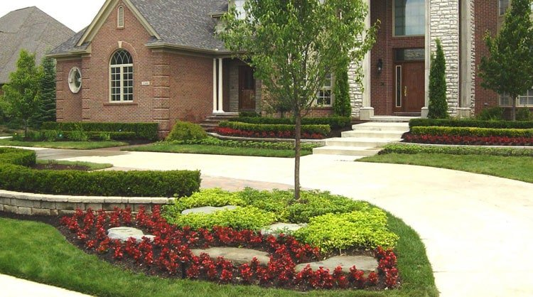 Basic Front Yard Design with Coordinated Flower Beds