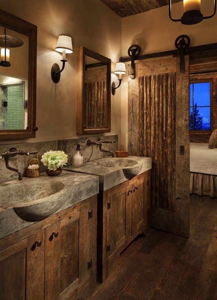 Contemporary Rustic Bathroom with Sliding Barn Door