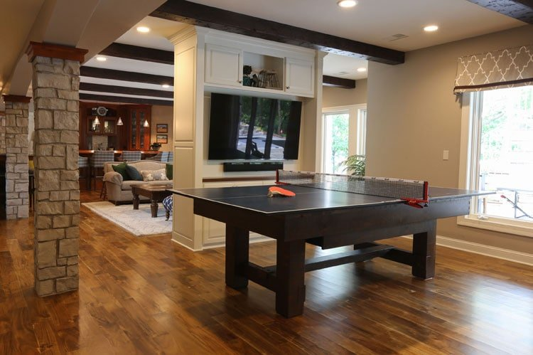 Cheap Man Cave Ideas with Ping Pong Table and Television