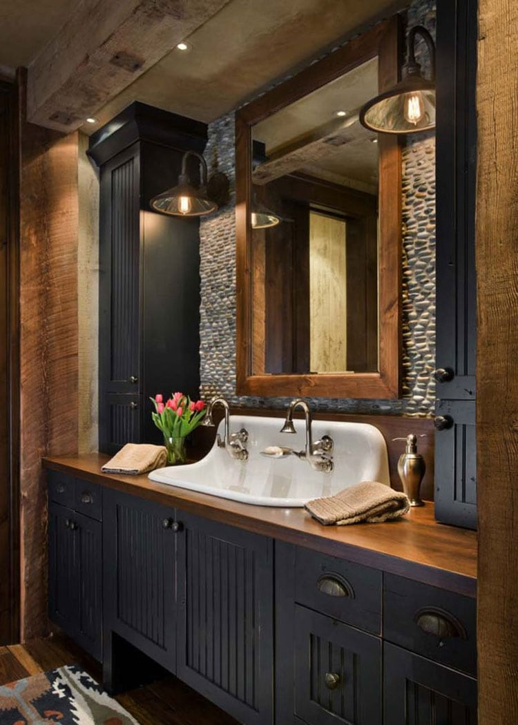 Chic Rustic Bathroom Ideas with Dark Wood and Stone