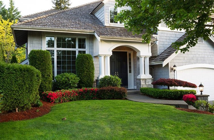 Classic Front Yard Decor with Trimmed Shrubs and Nicely Cut Grass