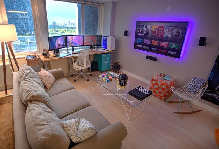 Colorful Gaming Living Room with Pops of Color