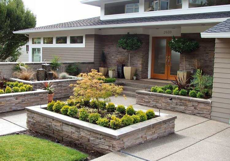 Cool Front of House Landscaping with Built-In Flower Beds