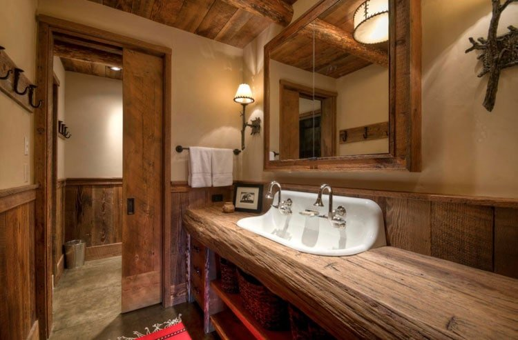 Country Style Rustic Bathroom with Dazzling Vanity