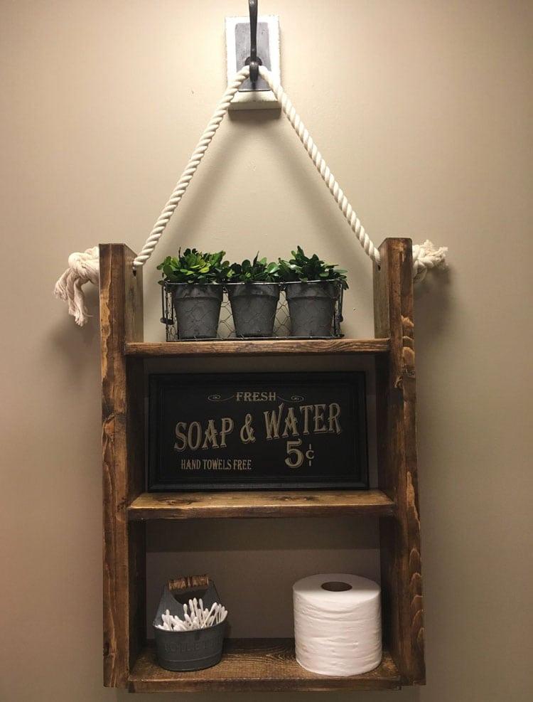 Cute DIY Rustic Bathroom Wood Shelf