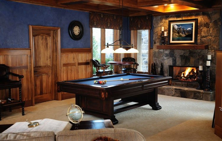 DIY Man Cave Pool Table with Wood and Tables