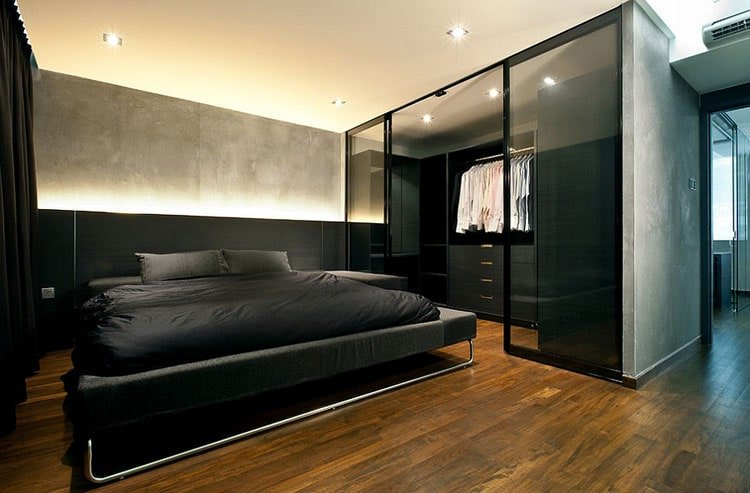 Dark Colored Manly Bedroom