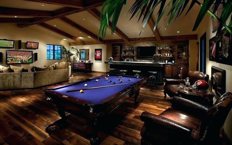 Expensive Man Cave with Pool, Bar, Chairs, Couches