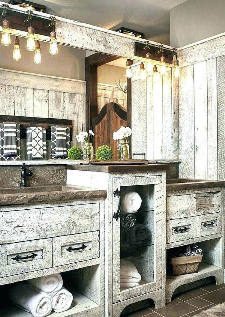 Extravagant White Wood Rustic Bathroom