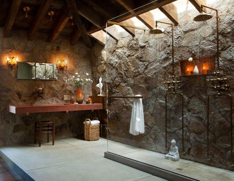 Fancy Rustic Bathroom Design Ideas with Stone Walls