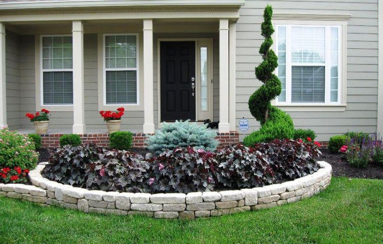 Low-Maintenance Small Front Yard Decor with Raised Flower Bed