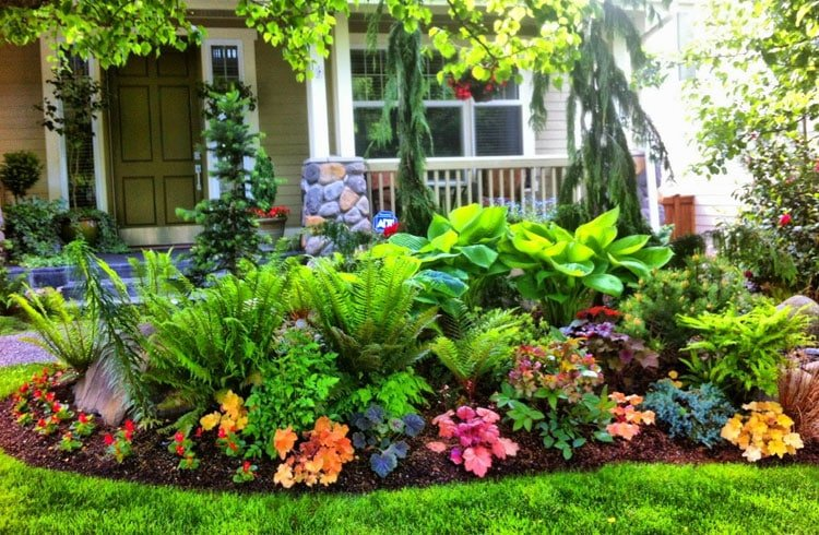 Lush Colorful Front Yard Landscaping Design Ideas