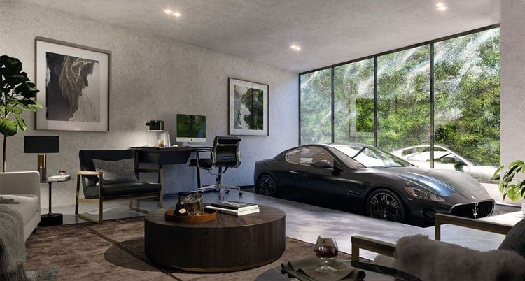 Luxurious Upscale Man Cave with Car in Room