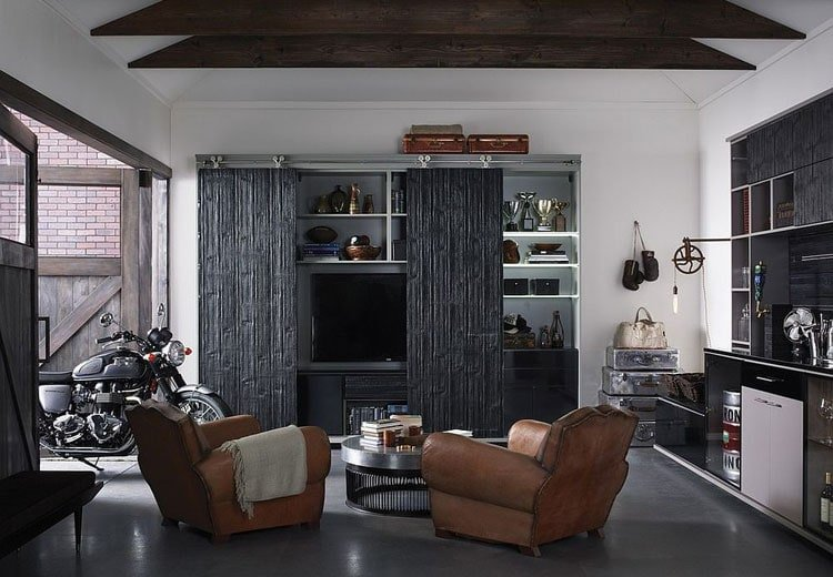 Luxury Modern Garage Man Cave with Motorcycle