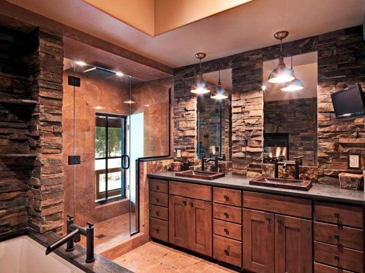 Luxury Rustic Bathroom Decor with Upscale Furnishings