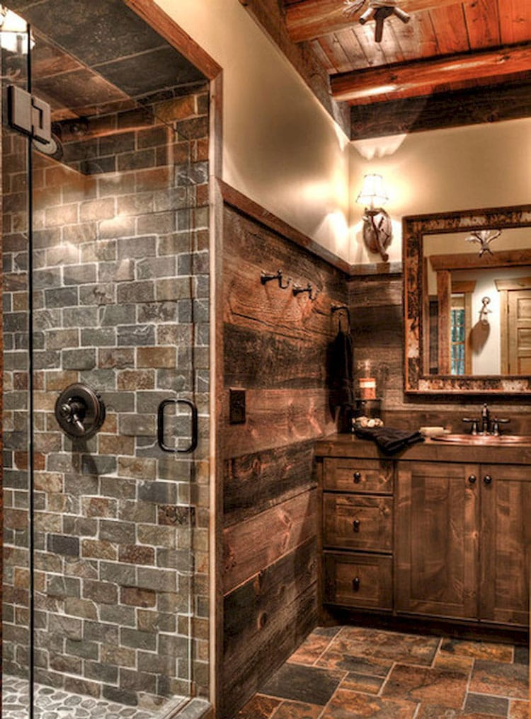 Luxury Rustic Bathroom with Beautiful Tiles, Wood Walls, Sink, and Vanity