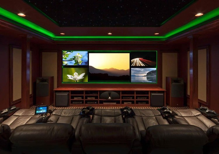 Luxury Video Gamer Room Designs with Green Lighting and Big Screen TV