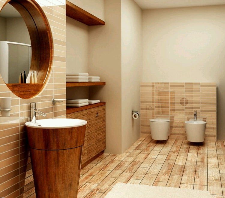 Modern Bathroom with Interesting Wood Design and Storage Area