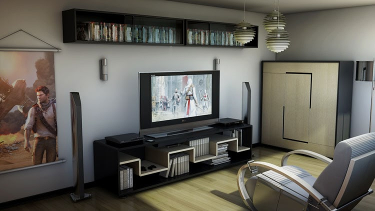 Modern Gaming Living Room with Chill Area and Clean Design