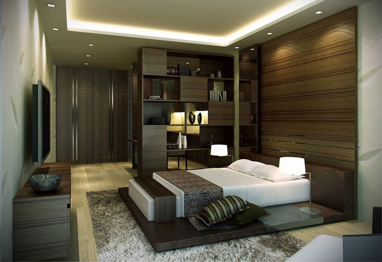 Modern Male Bedroom Design with Room Divider