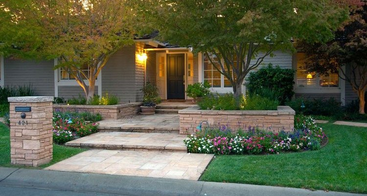 Polished Front Yard Design with Garden Beds