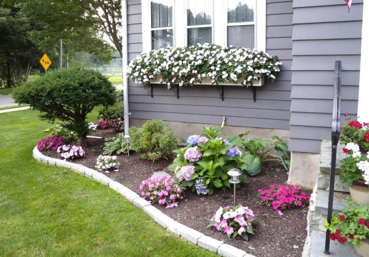 Pretty Floral Border with Window Boxes Makes For A Nice Front yard Landscaping Garden Idea