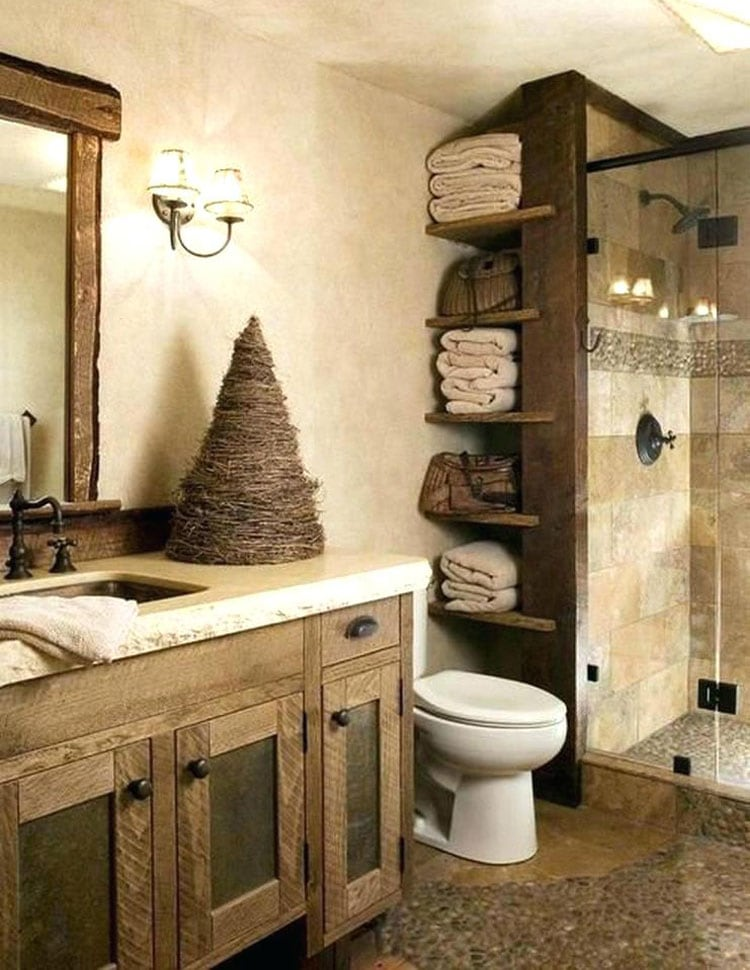 Quirky Rustic Bathroom Idea with Ingenious Storage Space