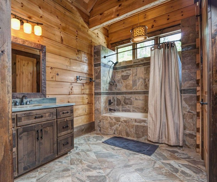 Rustic Bathroom Design Ideas with Beautiful Wood, Lighting, Shower, and Tiles