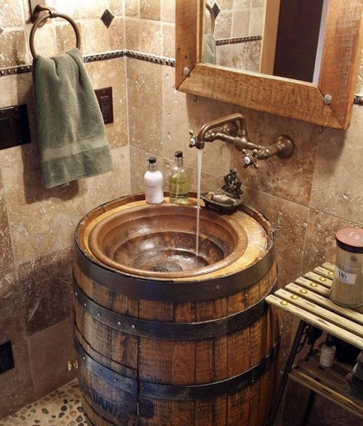 Rustic Country Bathroom with Barrel Sink and Cool Mirror Frame