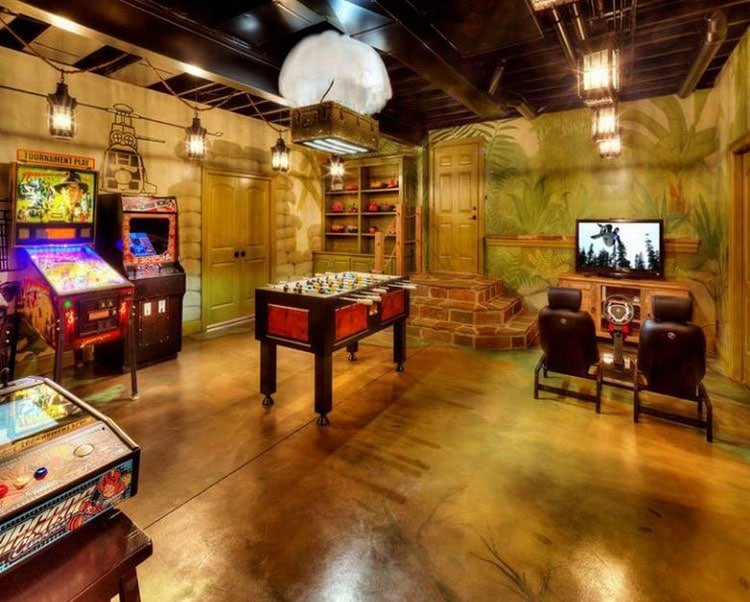 Rustic Game Room with Multiple Gaming Options