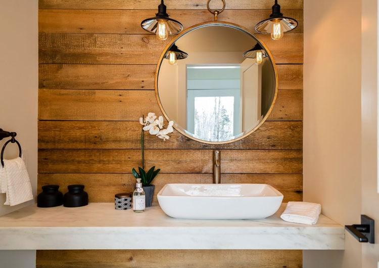 Simple Rustic Bathroom Idea with Wooden Backdrop