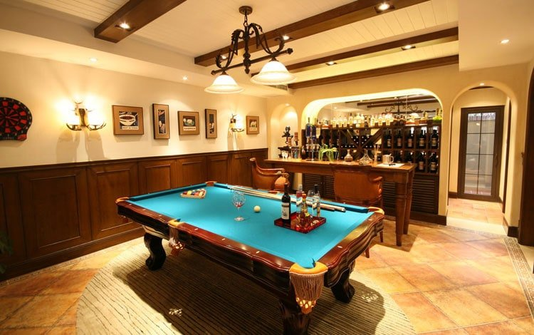 Small Basement Man Cave with Cool DIY Bar