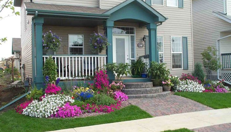 Small Front Yard Landscaping That Dresses Up the Entryway with Colorful Plants
