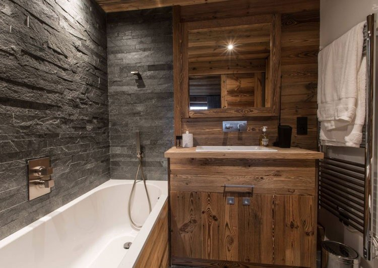 Small Rustic Bathroom with Gray Accent